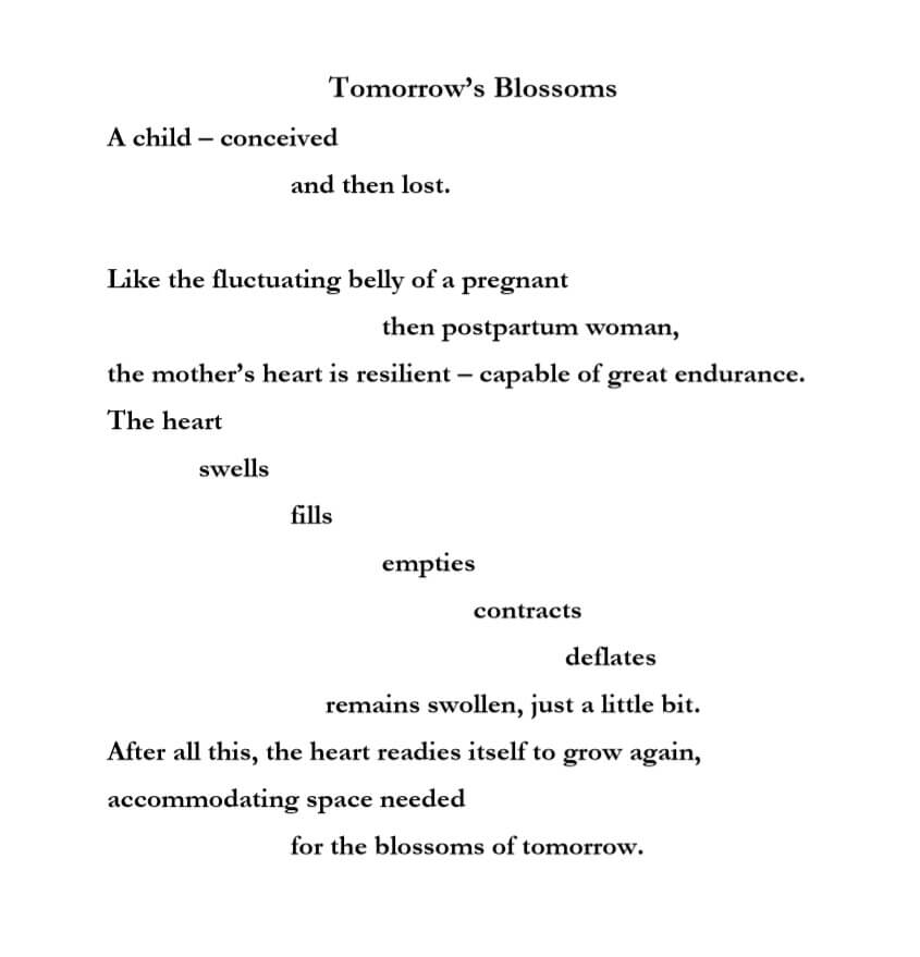 A poem written by Danielle LaRoque titles Tomorrow's Blossoms.