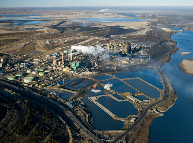 An aerial view of an oilsands operation in northern Alberta.