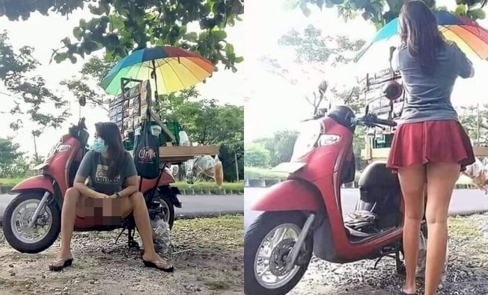 Controversial outfit causing commotion in Serangan after a young woman