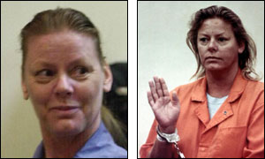 Aileen Wuornos in 2001 and 1991 (pictures from AP)