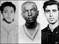 L-R Michael Schwerner, James Chaney and Andrew Goodman