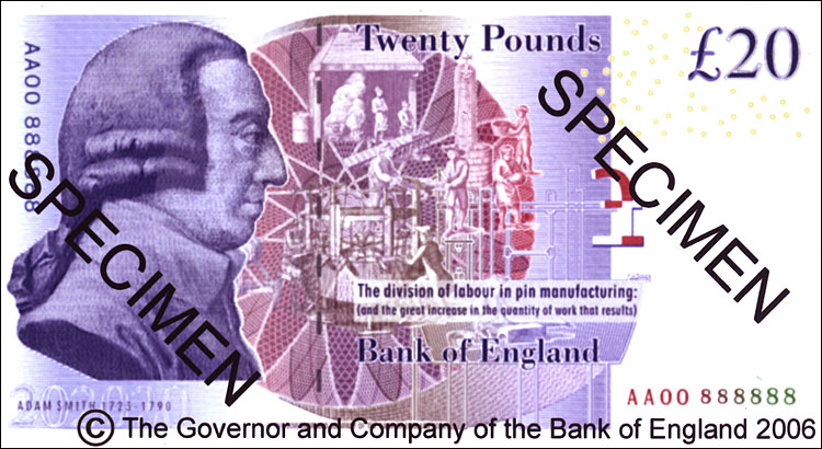 British bank note featuring Adam Smith