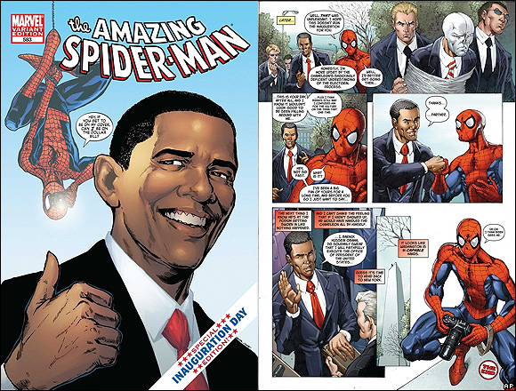 Not only does he get to be president, but he also gets to be in a Spiderman comic? Not fair...