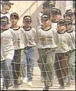 Boys train at the Islamic Jihad summer camp