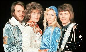 ABBA line up, Agnetha in blue skull cap