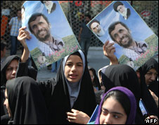 Young women campaign for President Ahdmadinejad