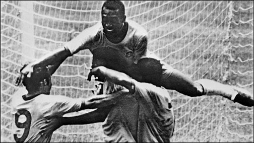 Pele celebrates after scoring in the 1970 World Cup final