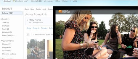 Screenshot of Windows Live Hotmail, Microsoft