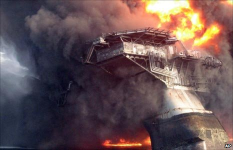 The fire on the Deepwater Horizon Rig