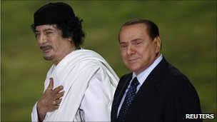 Gadaffi with the equally awful Italian leader Silvio Berlusconi last year