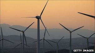 Wind-power generators are seen near the San Andreas Fault on July 2, 2006 near Palm Springs, California