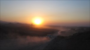 The road to Batken on the Tajik border that traffickers use to bring in drugs