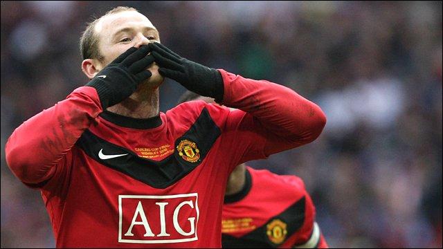 Wayne Rooney scores against Aston Villa