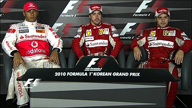 Korean GP top three drivers