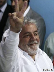 President Luiz Inacio Lula da Silva after casting his vote on 31 October 2010