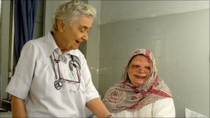 Dr Pfau and a female patient