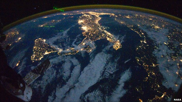 View of Italy at Night from the International Space Station