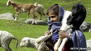 Shepherdess in Kashmir
