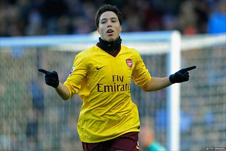 Samir Nasri celebrates scoring Arsenal's second