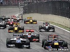 The start of the 2010 Brazilian Grand Prix