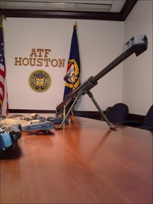 An automatic weapon sitting at an ATF office in Houston