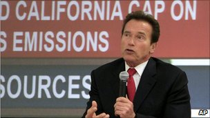 Arnold Schwarzenegger speaking at a press conference on California greenhouse gas emissions