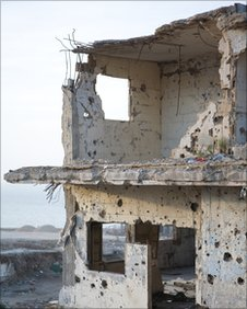 Shelled building in southern Lebanon