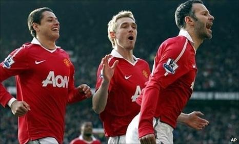 Javier Hernandez, Darren Fletcher and Ryan Giggs