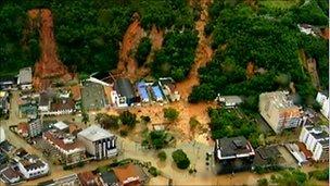 Videograb of mudslide in Teresopolis, Brazil. 12 Jan 2011