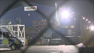 The scene of the accident at the Claxton Engineering site