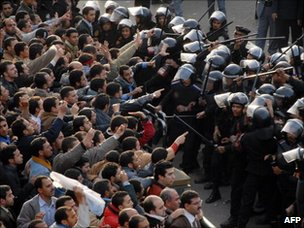 Muslim Brotherhood supporters clash with riot police in Egypt (2008)