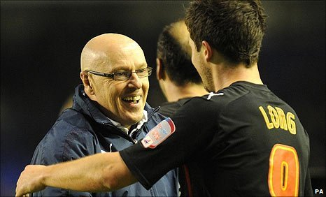 Reading manager Brian McDermott and Shane Long