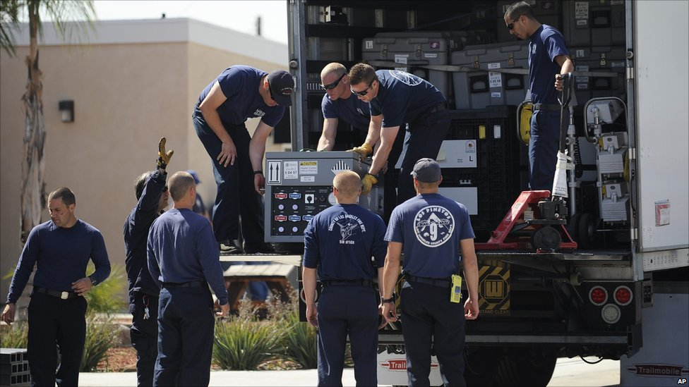 Los Angeles County firefighters prepare to deploy to Japan