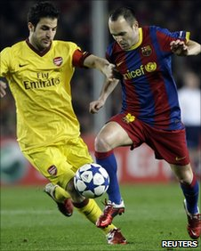 Cesc Fabregas and Andres Iniesta