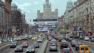 A view of traffic on Moscow's Garden Ring Road (image from 2009)