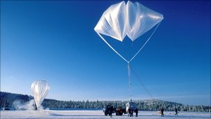 Balloon used for Arctic ozone measurements