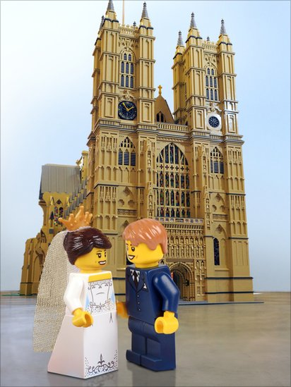 Toy figures of Kate and William outside a model of Westminster Abbey
