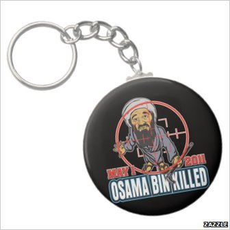 A key ring with an image of Osama bin Laden in the cross hairs of a gun, with the words 'Osama bin Killed'