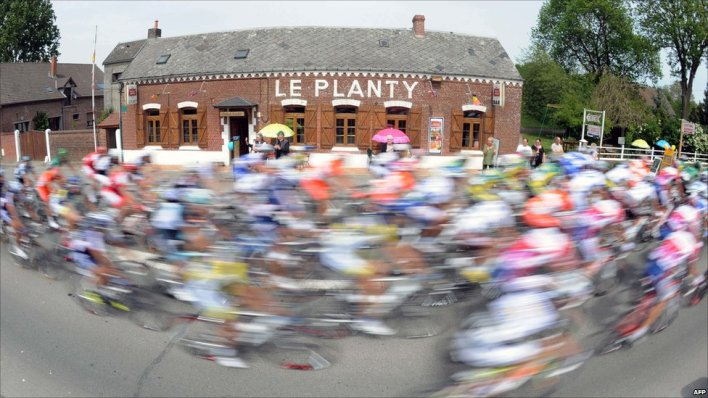 Cyclists racing in Le Cateau-Cambresis, France, 6 May, 2011
