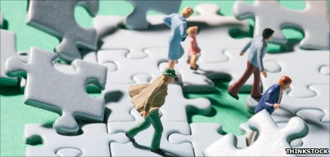 Model figures on shaky jigsaw
