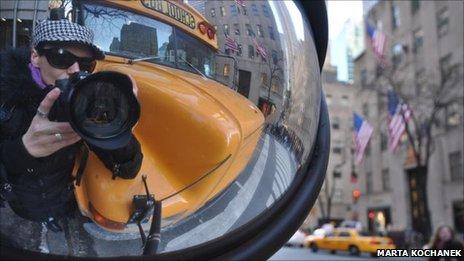 Marta's self-portait in a bus mirror