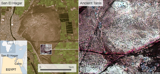 Modern day San El Hakkar and infrared image of ancient Tanis