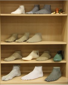 Moulds of sportstars' feet