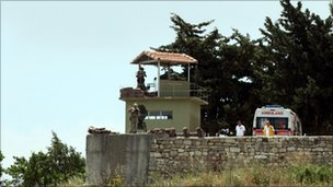 Turkish guards on border with Syria near the town of Yayladagi - 11 June