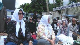 Barbra Taylor (left) at Friday prayers