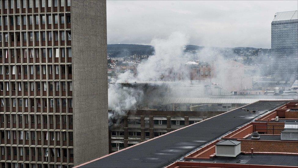 Smoke billows over Oslo, 22 July 2011