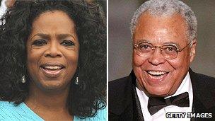 Oprah Winfrey and James Earl Jones