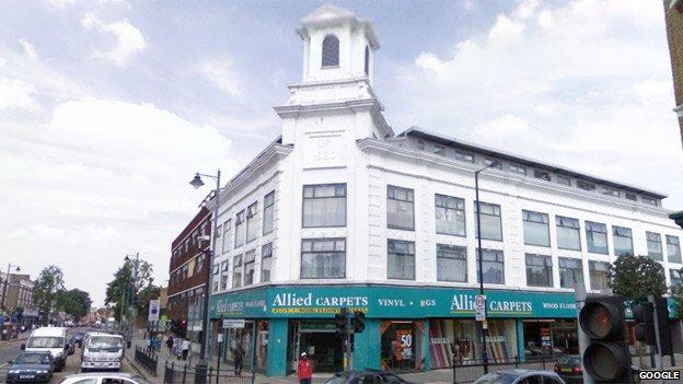 Carpetright building, Tottenham High Road taken by Google Streetview
