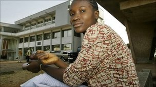 Archive photograph of a student at Fourah Bay Colleage in Sierra Leone in 2006