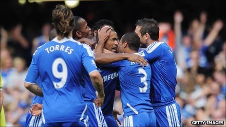 Bosingwa is mobbed by jubilant team-mates after his wonderful early strike